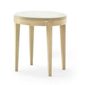 Toffee 883, Round coffee table with beech structure, glass lacquered tempered top, for environments in modern style