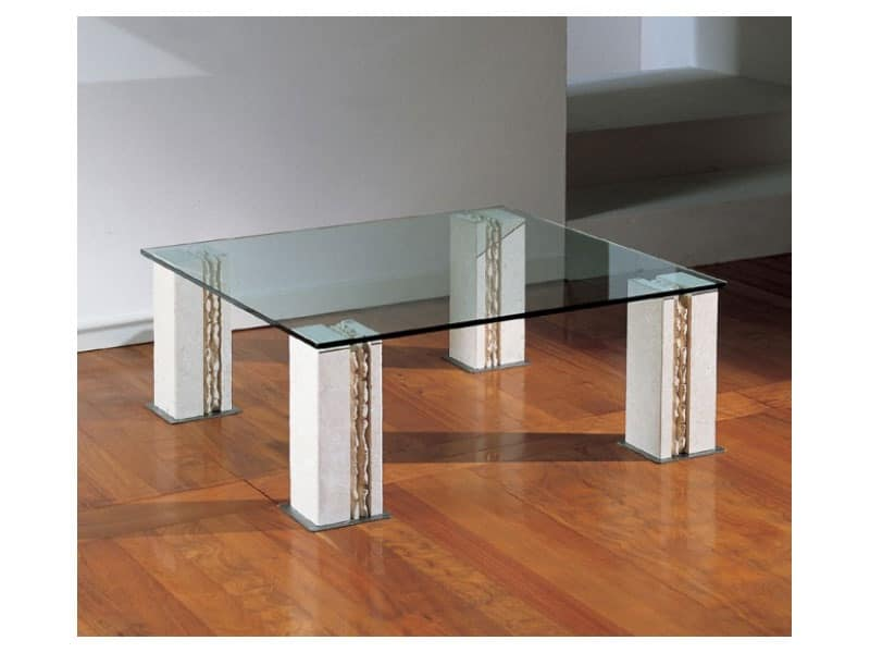 Tracce, Table with 4 legs in stone, top in glass