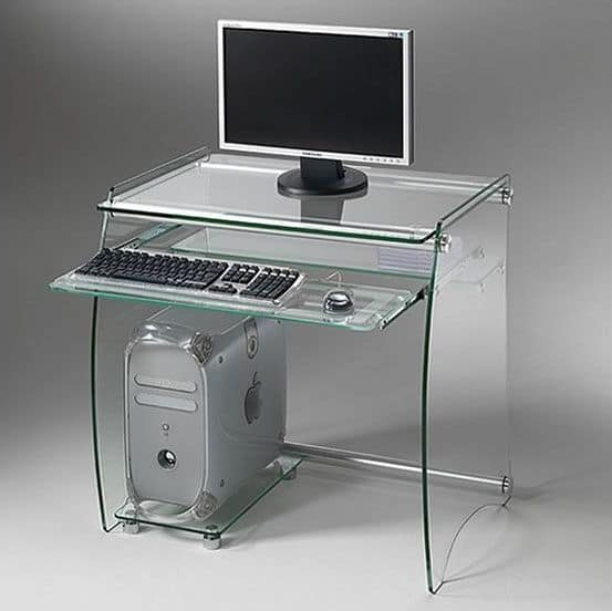 Clear PC01, Metal pc holder with glass shelves and keyboard rack