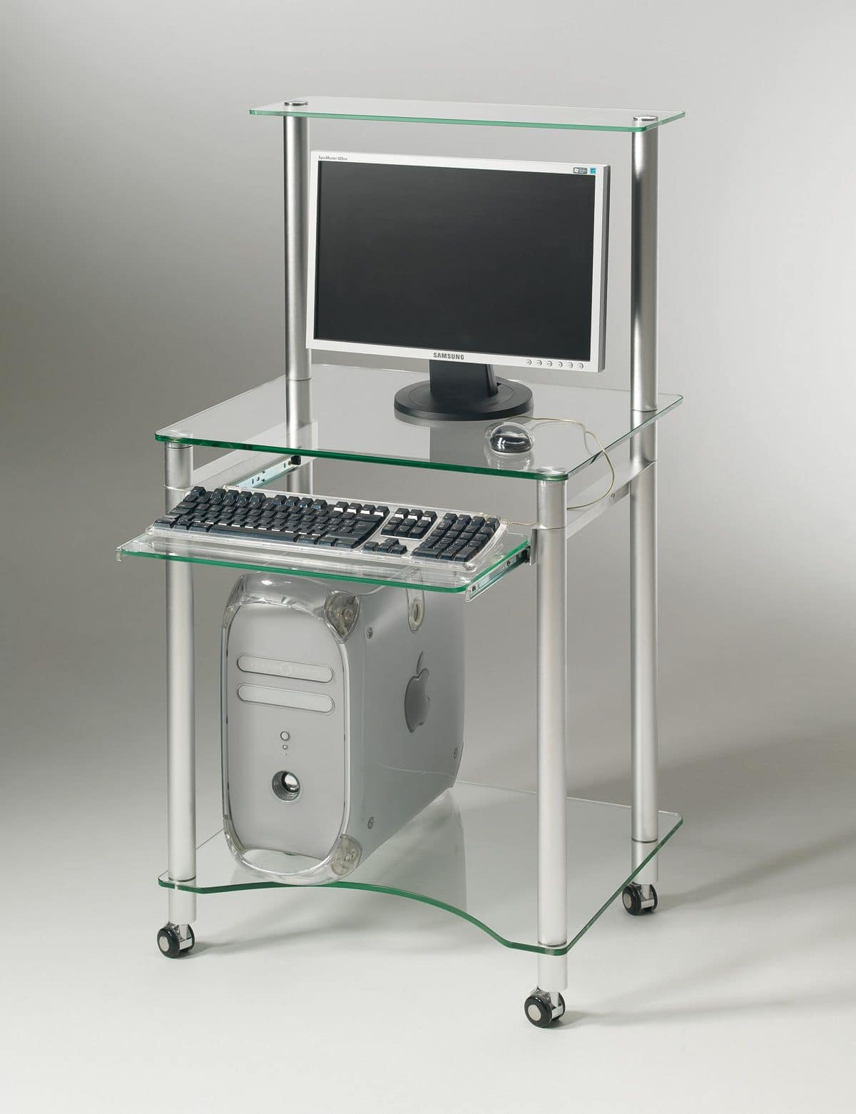 Compact PC02, PC desk equipped with castprs and retractable keyboard compartment