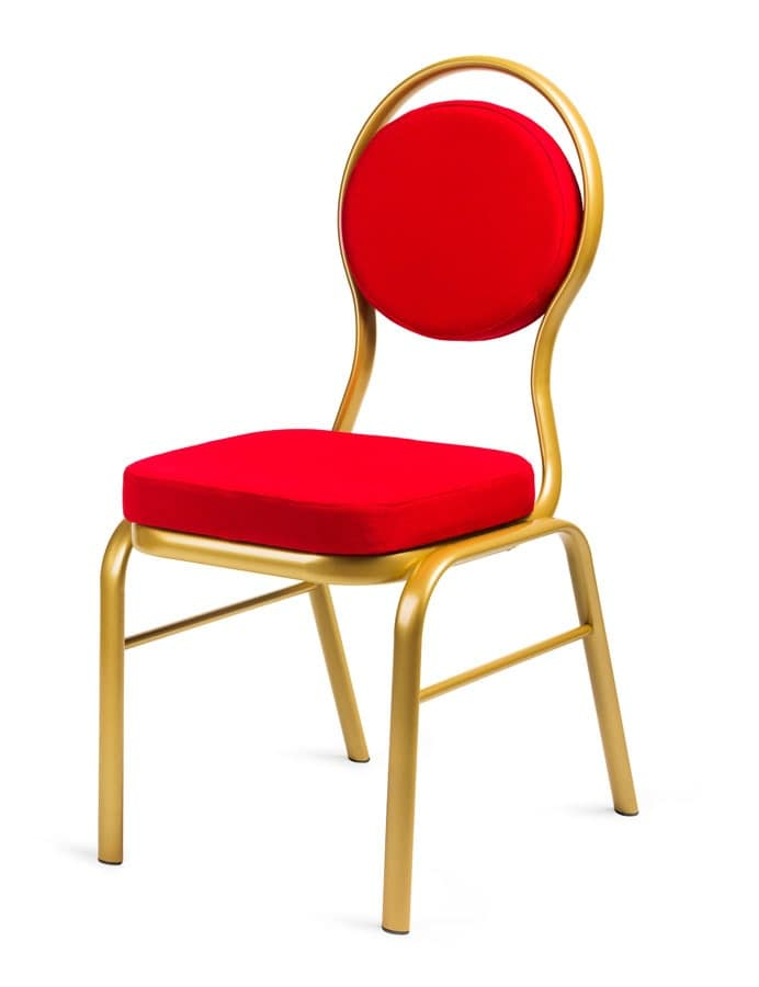 Clea, Upholstered chair with aluminum frame, round back