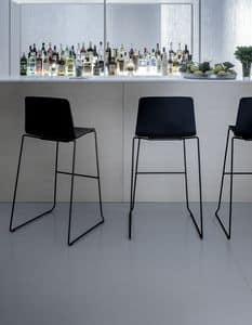 Rama Stool polypropylene, Stool in steel and polypropylene, for waiting rooms