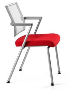 TITANIA 2868, Chair with metal base, back in elasticated mesh