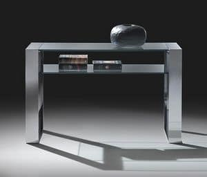Ring consolle 2, Console in steel and glass, with a shelf