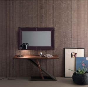 Zed, Modern console with wooden structure suited for home, metal console suited for entrance