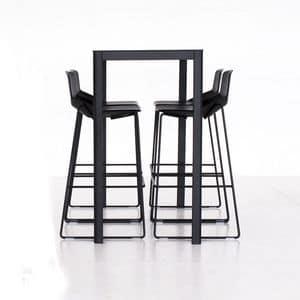 La h110, Cocktail table in aluminium, laminate HPL top, square or rectangular