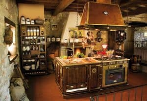 Art. 509, Wooden kitchen fitted, old-fashioned, copper hood