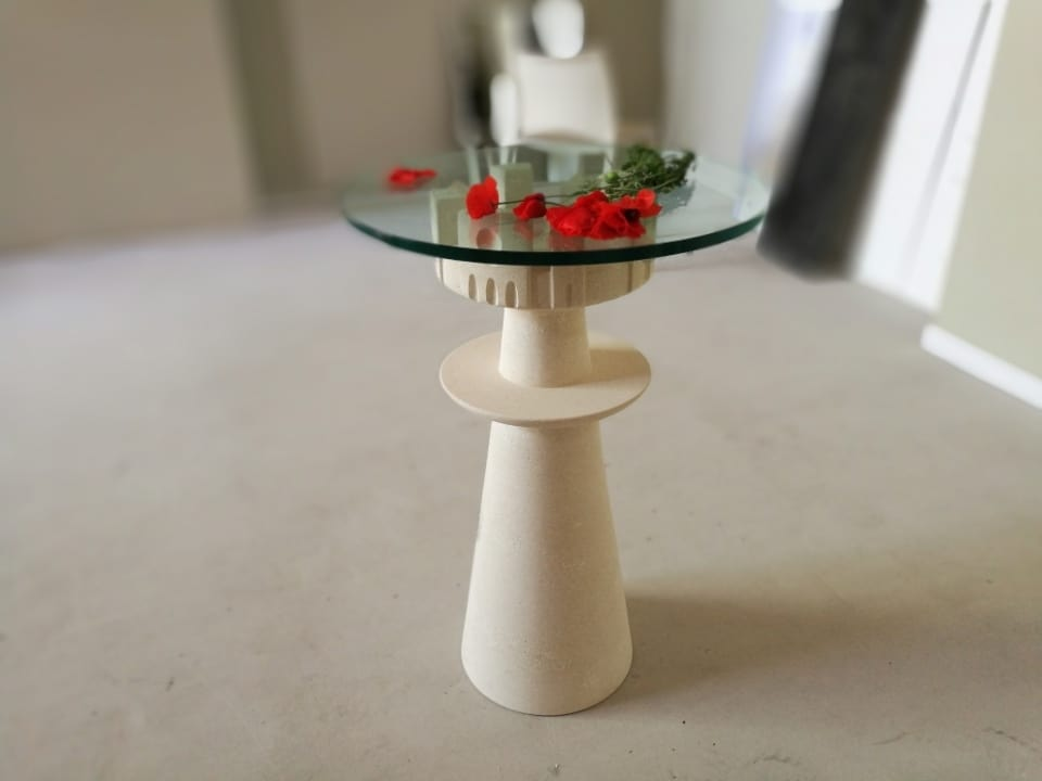 Agorà, Table with glass top, carved stone base
