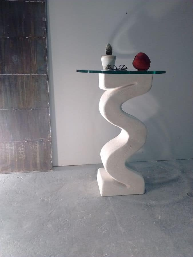 Flex, Column with stone base, glass top