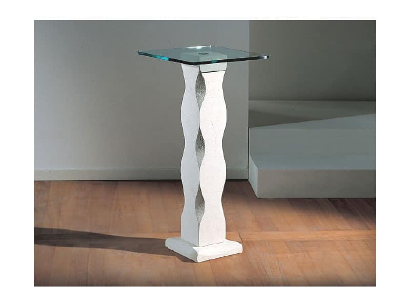 Matisse, Table with stone pillar and glass top