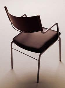 Chazuka armchair, Chair with armrests in metal and leather, for restaurants