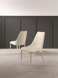 Marianna, Chair upholstered in leather or eco-leather nabuk
