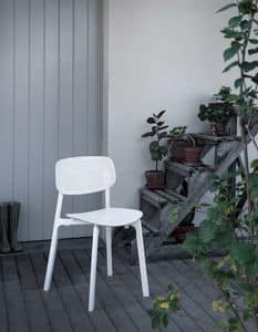 Colander, Stackable chair in polypropylene and aluminum, for outside
