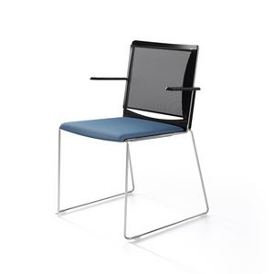 Multi mesh, Sled base chair in painted metal, mesh backrest, polypropylene seat