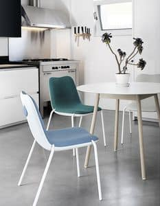 Boum Upholstered, Aluminum chair, with upholstered plastic shell
