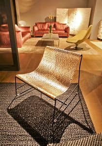 Picture of Net Chair, design chair with wooden seat and metal legs