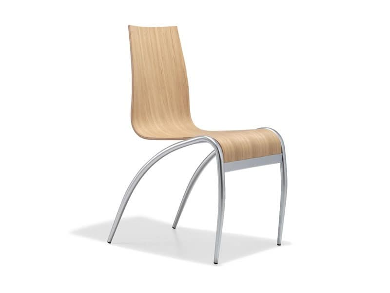 metal base chair kitchen relax wood by area declic by arrmet group