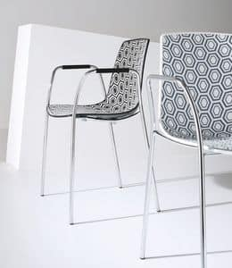Alhambra TB, Chair with armrests, chromed metal base, polymer shell