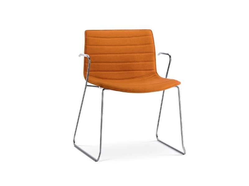 sled base chair with armrests in metal upholstered. Black Bedroom Furniture Sets. Home Design Ideas