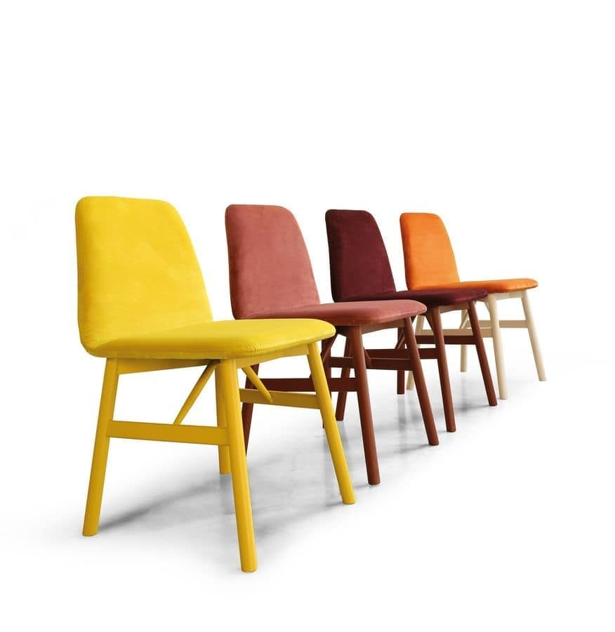 ART. 0030-1 BARDOT, Chair with soft design in padded wood