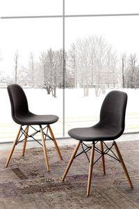 Art. 289 Shell Dress, Stuffed chair, with legs in natural beech wood