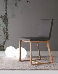 Halley, Dining wooden chair padded, removable cover