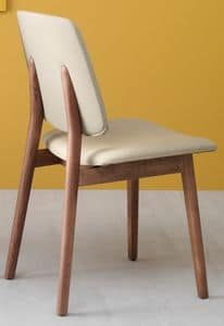Luxy 610/612/614, Chair in ash wood, seat and back upholstered in faux leather