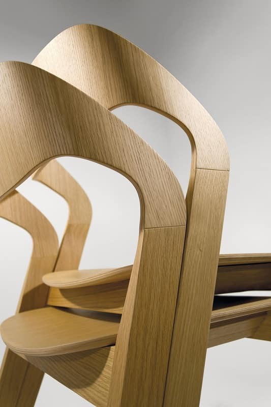 Mixis, Design wood chair, stackable, minimalist, for Hotel