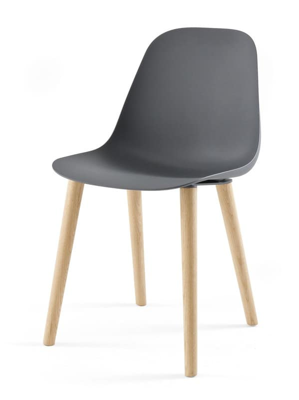 Design chair in wood and polyurethane for dining room for Chair light design