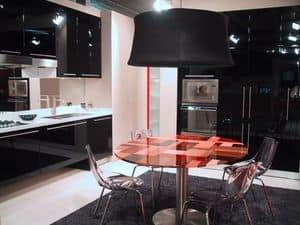 BLACK, Sophisticated kitchen with suspended furnishings, in various colors