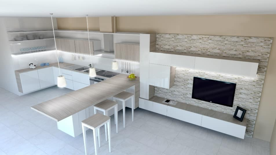 Dublino, Corner kitchen with dining counter
