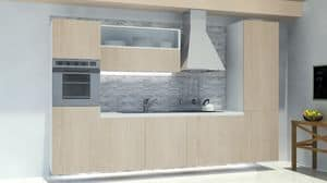 Oslo Ardesia, Modular kitchen, with wall panel in rock slate