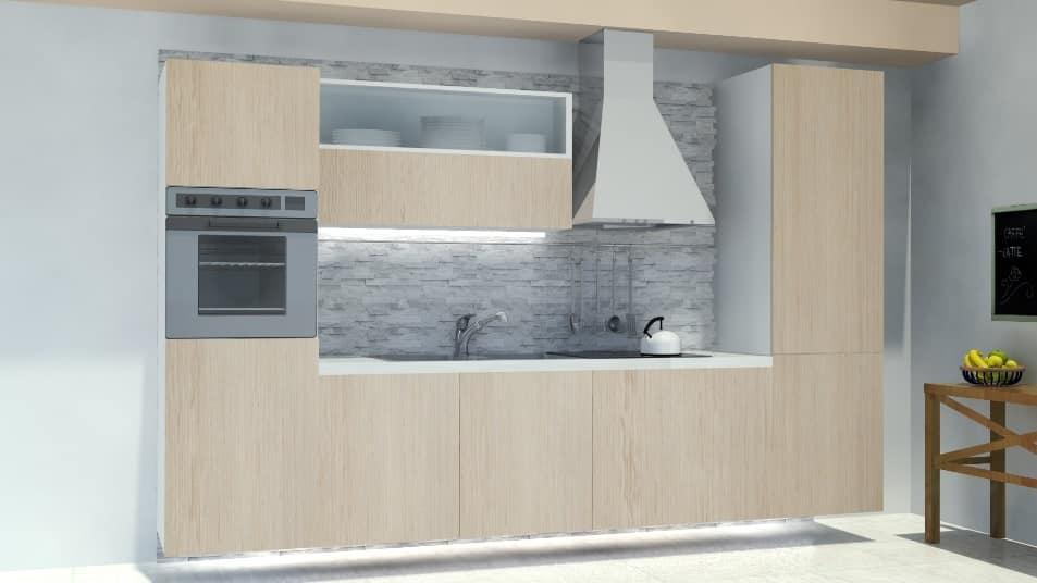 Oslo Ardesia, Modular kitchen, with wall panel in rock slate