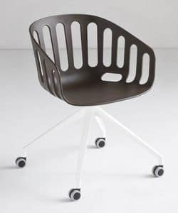 Basket Chair UR, Swivel chair with aluminum 4-star base with wheels