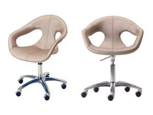 Sunny fabric HO, Padded chair, metal base on castors, for home-office use