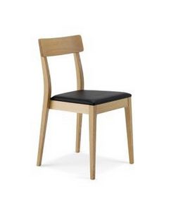 1082, Linear wooden chair with padded seat, stackable