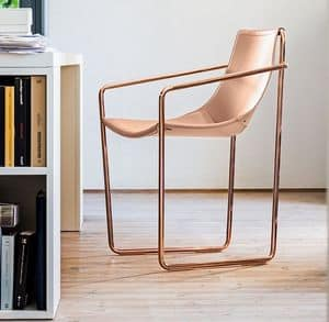 Apelle P, Chair with sled base, in metal and natural leather