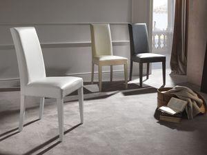 Art. 122 Vertigo Slim, Chair upholstered in leather, wooden legs in matching finish