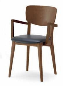 Gianna P, Chair with solid wood structure, with armrests