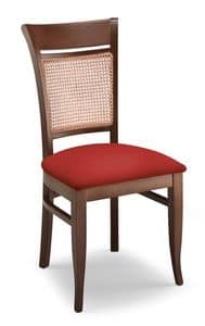 Gloria INC, Chair in beechwood, upholstered seat and cane back