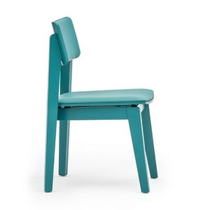 Offset 02813, Chair in solid wood, upholstered seat and back