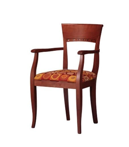 441, Beech wood chair with armrests, for hotels