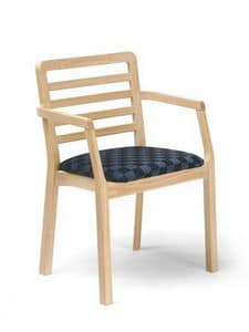 Morena PL-S, Chair with armrests, with horizontal slats, for restaurants