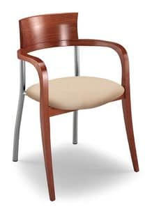 Egle F, Chair with beech and metal frame, upholstered seat
