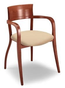 Egle L, Chair with beechwood frame, with armrests, for restaurants