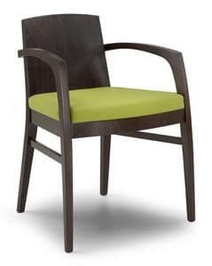 Ketty L, Modern chair with solid wood back, for contract use