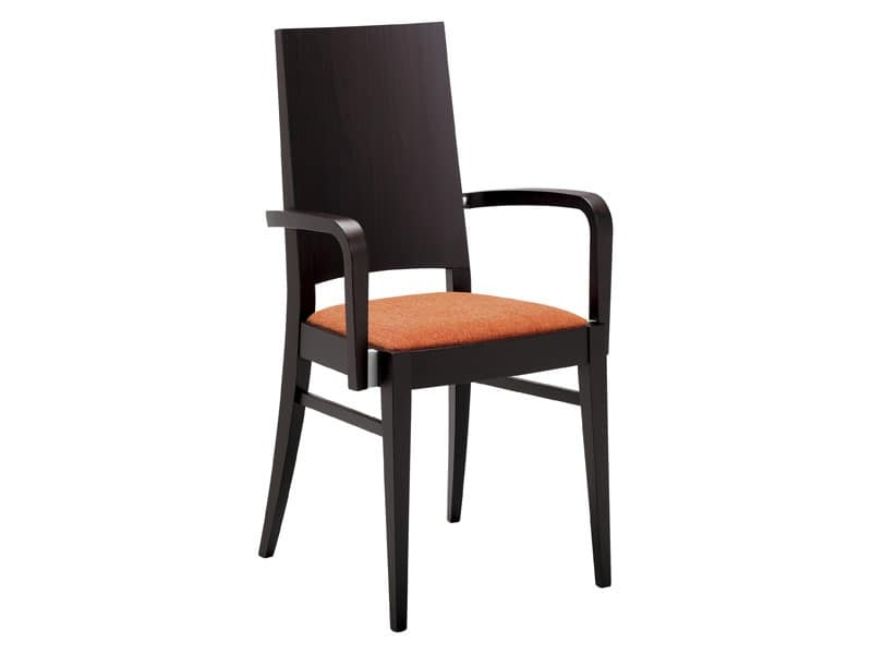 PL 121, Modern wooden chair with armrests for restaurant