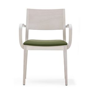 Sintesi 01521, Armchair with arms in solid wood, upholstered seat, modern style