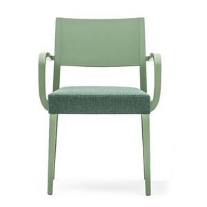 Sintesi 01523, Solid wood armchair with arms, upholstered seat, for contract and domestic environments