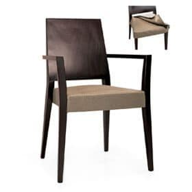 Timberly 01723, Stackable armchair with arms, solid wood frame, upholstered seat, covering with fabric, for dining rooms
